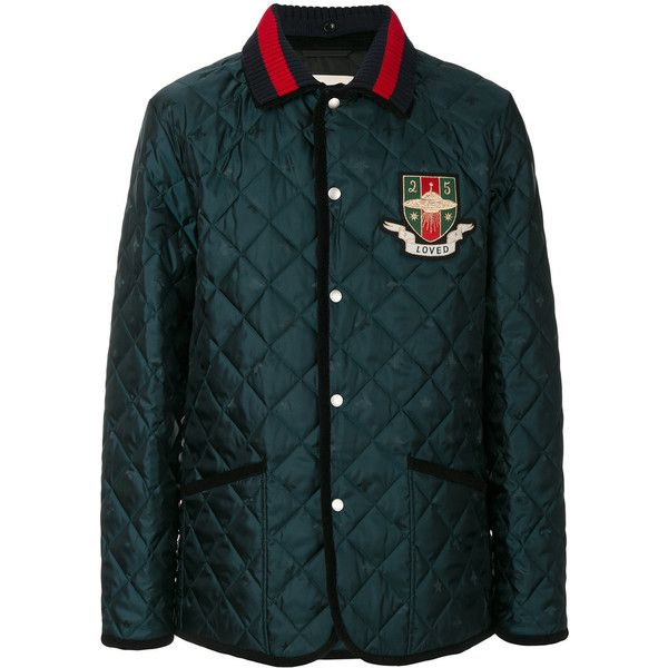 Gucci Loved UFO quilted jacket ($1,365) ❤ liked on Polyvore featuring men's fashion, men's clothing, men's outerwear, men's jackets, green, gucci mens jacket, mens quilted jacket, mens cotton jacket, mens green jacket and mens green quilted jacket