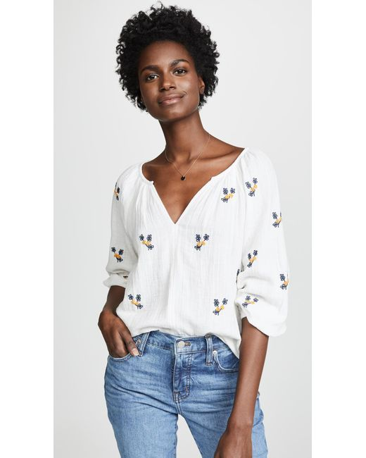 9deb8a52dad Velvet - White Selma Embroidered Blouse - Lyst | Summer Tops ...