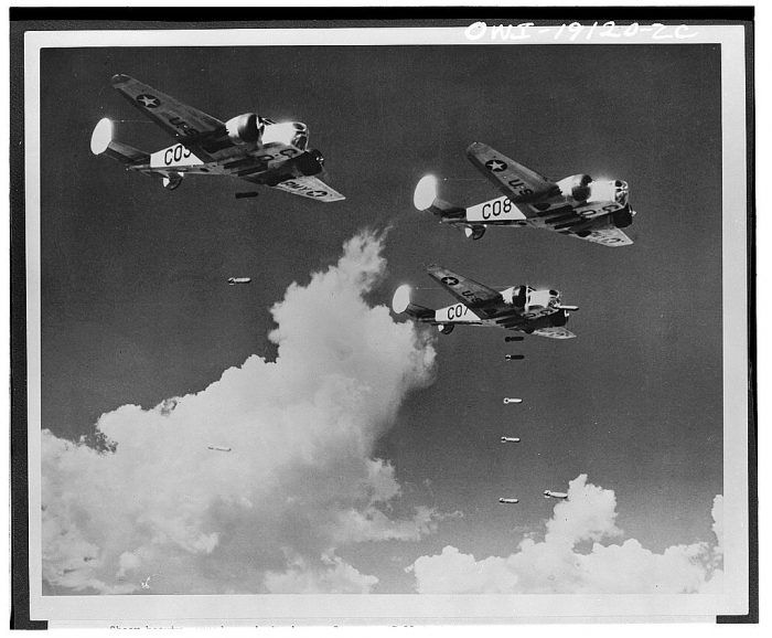 6. AT-11 bombers dropping training bombs at an advanced flying school located in Carlsbad.