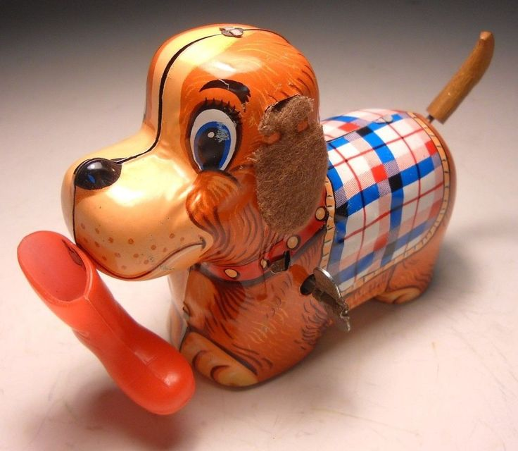 VINTAGE PLAYFUL PUPPY WITH BOOT TIN WIND-UP * YONE/JAPAN * WORKS GREAT | eBay
