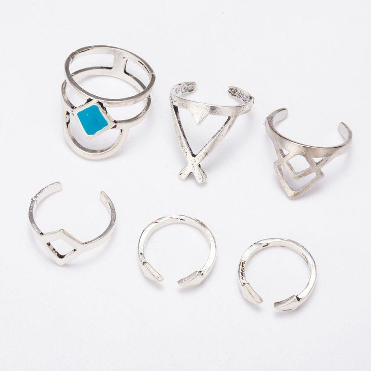 Boêmio 6 pcs/Pck Anti Vintage Anéis de Prata Azul Turquesa Sorte Empilháveis Anéis Midi Conjunto de Anéis para As Mulheres festa Frete Grátis