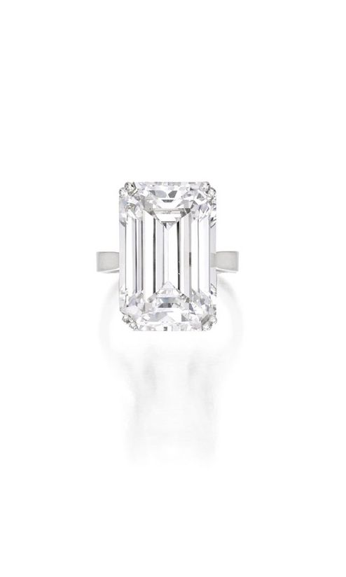 There's an entire cache of beautiful engagement rings hitting the auction block - click for pictures of the styles coming from celebs and royals (like this amazing emerald-cut diamond).