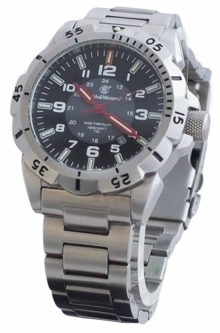 Smith & Wesson Emissary Swiss Tritium Watch - Silver SWW-88-S Tactical Watch