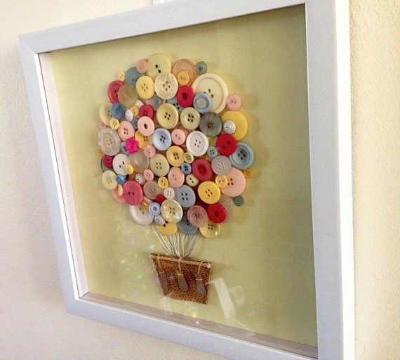 Button Art - Hot Air Balloon Nursery Artwork - Vintage Buttons