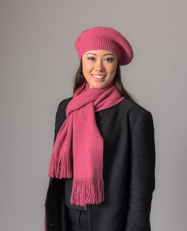 This is a lovely soft and warm plain pink scarf. Team this merino scarf up with the matching ribbed beanie, beret and gloves or wrist-warmers. 185cm long including the tassels and 18cm wide.  A lovely blend of 20% possum fibre mixed with 70% merino lambs wool and 10% silk. Soft and comfy, possum merino is a special blend of wool that is comfortable and very warm.