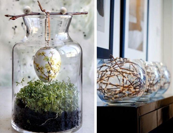 Kresse und weidenkätzchen in Glasbehältern