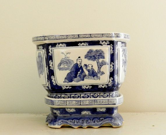 blue and white asian decor | Large Vintage Asian Planter Container Blue White Porcelain Glaze ...