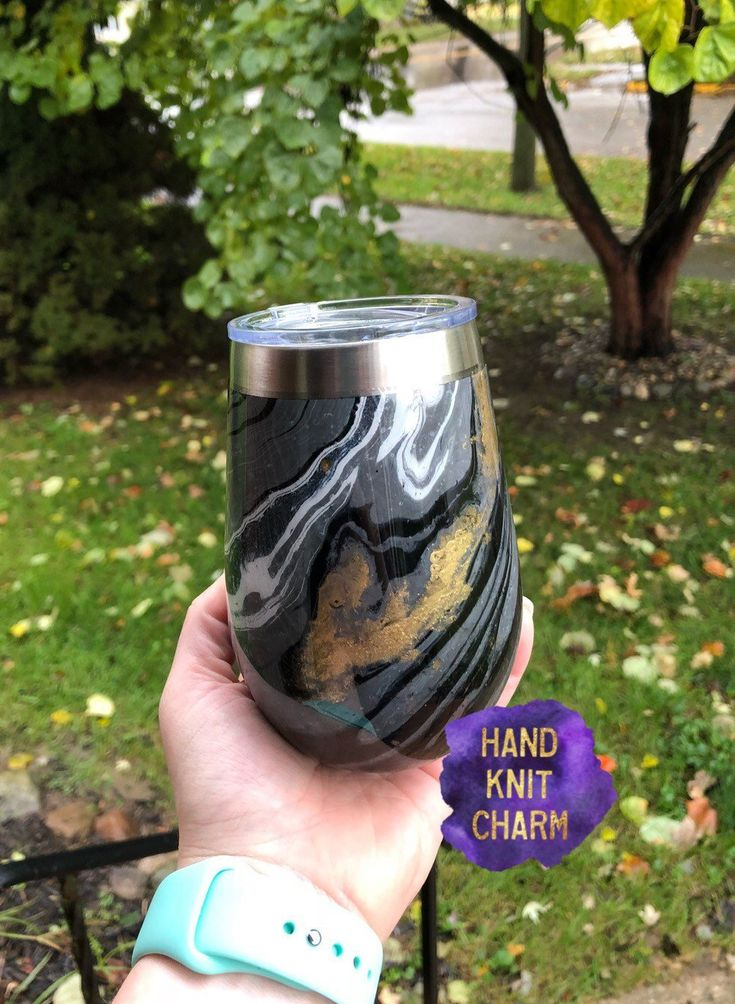 Marble Hydro Dip Black And Gold Marble Stemless Wine