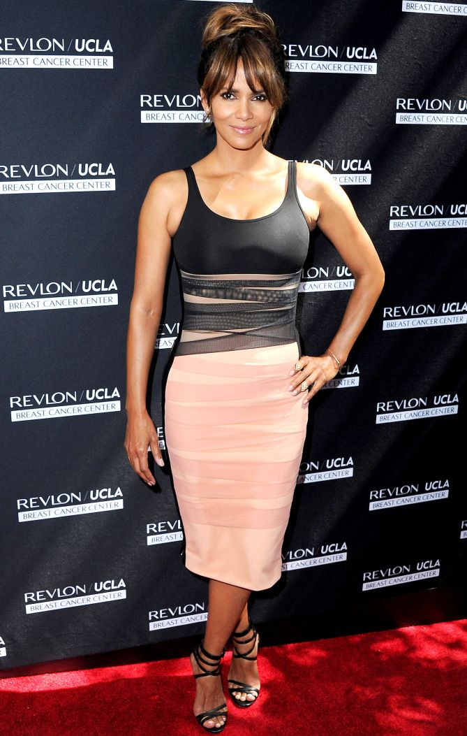 Halle Berry in a pink-and-black David Koma dress
