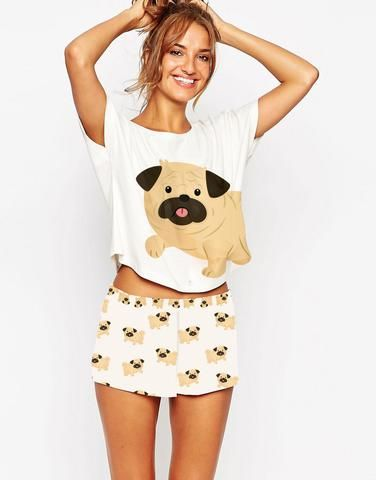 The full set is finally here! Save money when you buy the set and don't forget, FREE shipping!--Have a Pug or just love the cute little critters?  Well this super cute Pajama set is perfect for you! These PJ's are perfect for loun...