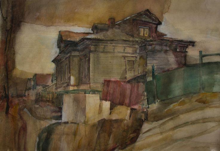 Старый дом в Богородске, 40х58, watercolor