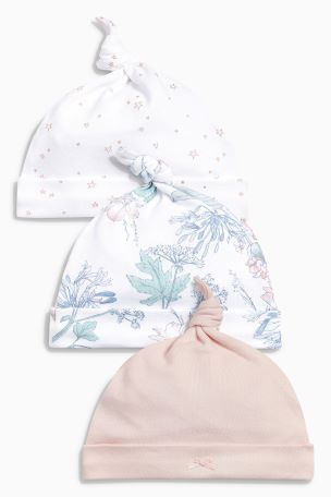 f03d6a4eaaa Pink Floral Tie Top Hats Three Pack (0-18mths)