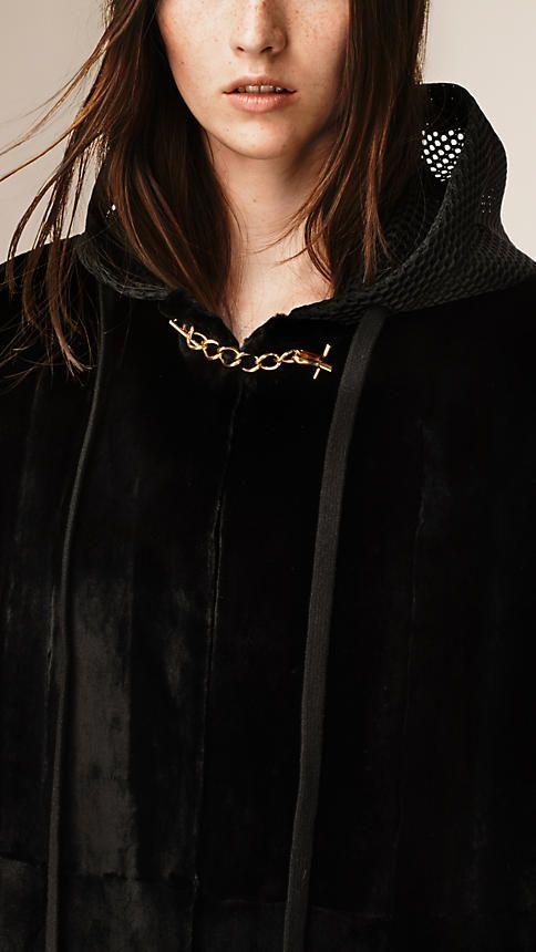 Negro Abrigo de visón con cierre de cadena - Imagen 3
