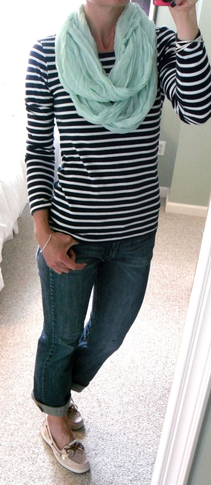 HM navy blue and white striped t-shirt, mint Figure 8 infinity scarf, cuffed Lucky Brand jeans, Sperry Angelfish top siders