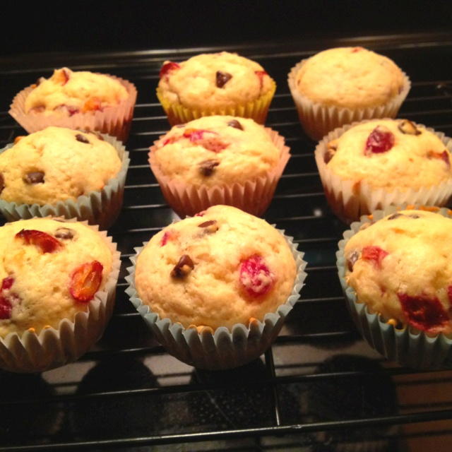 Dark Chocolate Chip Cherry Muffins. Turned out pretty well. Can't ...