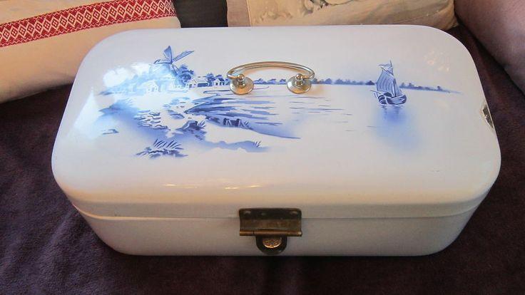 vintage french enamel canister enamelware graniteware bread box