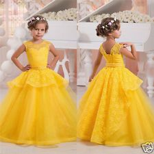 Yellow/Pink Flower Girl Dress Party...