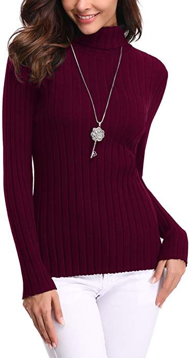 Abollria Women s Long Sleeve Solid Lightweight Soft Knit Mock Turtleneck  Sweater Tops Pullover at Amazon Women s Clothing store   317e283d7