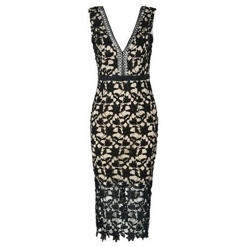 Black V-neck Crochet Lace Overlay Bodycon Dress D902-CAA7QY