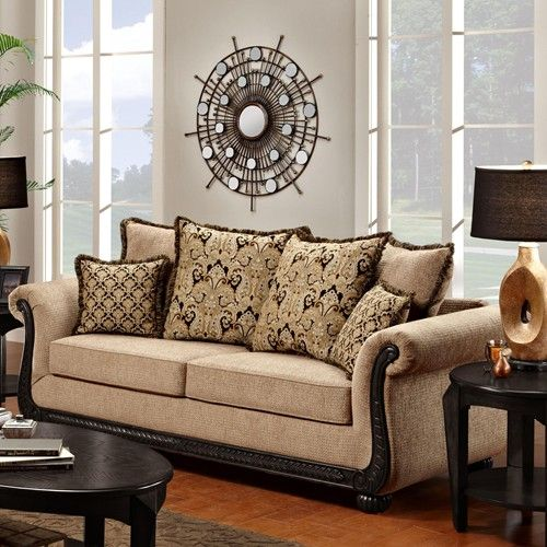 Washington Furniture 6000 Traditional Rolled Arm Sofa With Scrolled Wood  Trim   Ivan Smith Furniture