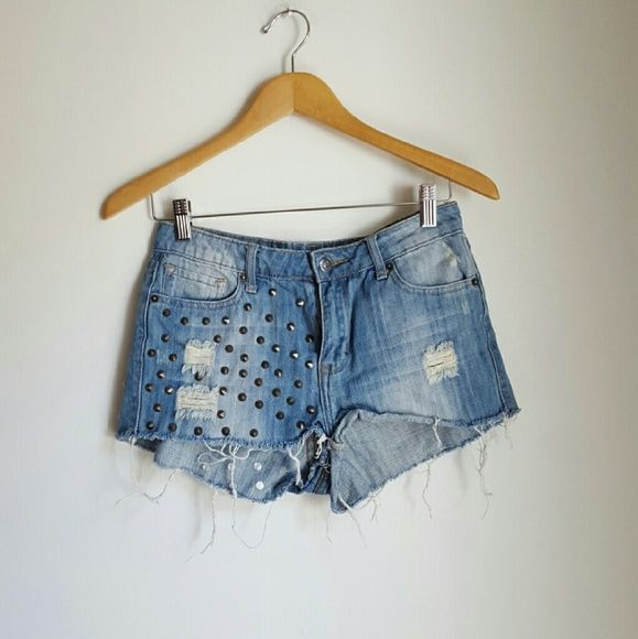 F21 premium denim high waisted studded shorts Forever 21 Premium Denim destroyed cut off shorts size 28.  Has studs and spiker at front at back. Ripping, fraying are factory made. Festivals ready! :)   - No trades. - Cool discounts on bundles **   #forever21 #f21 #coachella #festivals #bohemian Forever 21 Shorts Jean Shorts
