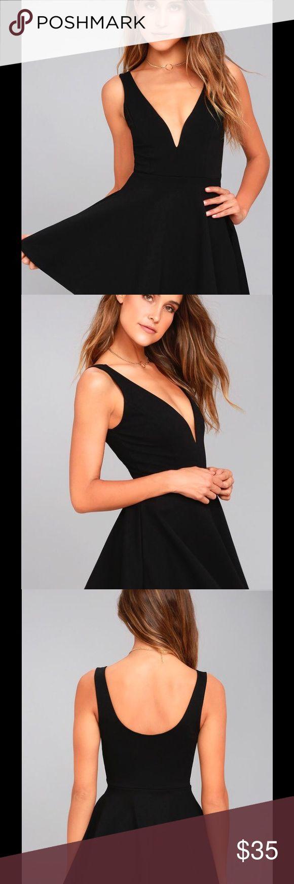Lulu's I Feel Good Black Skort Dress Plunge neckline, stretchy material Lulu's Dresses Mini