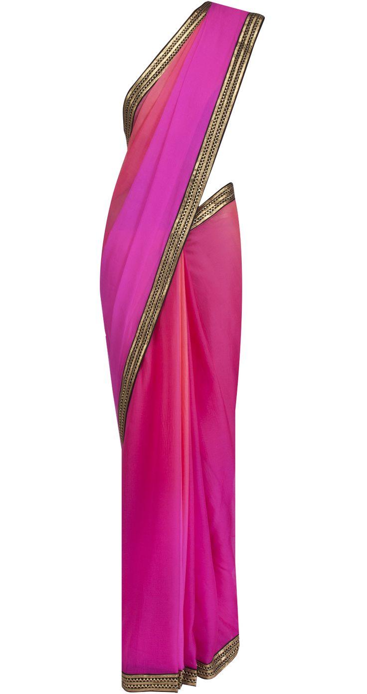 Ombre sari with sleeveless blouse by TISHA SAKSENA. Shop at https://www.perniaspopupshop.com/whats-new/tisha-saksena-16