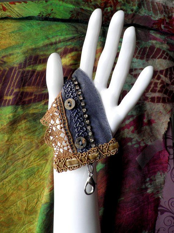 fabric bracelet / cuff / charm / wrist band...vintage fabric and rhinestones...by mia baggali on Etsy, $30.97 CAD