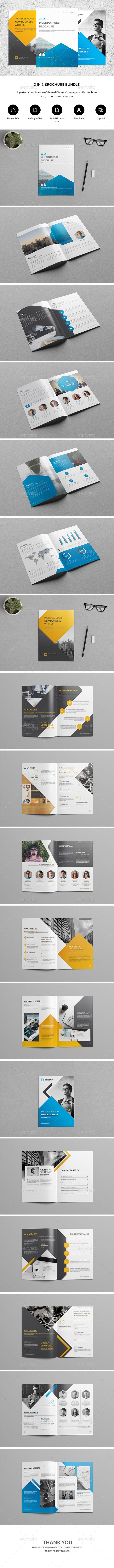 Company Profile Brochure Bundle  A perfect bundle of three different company profile brochure. Ideal for Company branding. Just replace your images and texts and they are ready to print. Everything is editable in inDesign. It's that easy.All texts are set with free fonts, and download links are provided. search tag: #Brochure #Bundle 3 in 1 - #Corporate #Brochures
