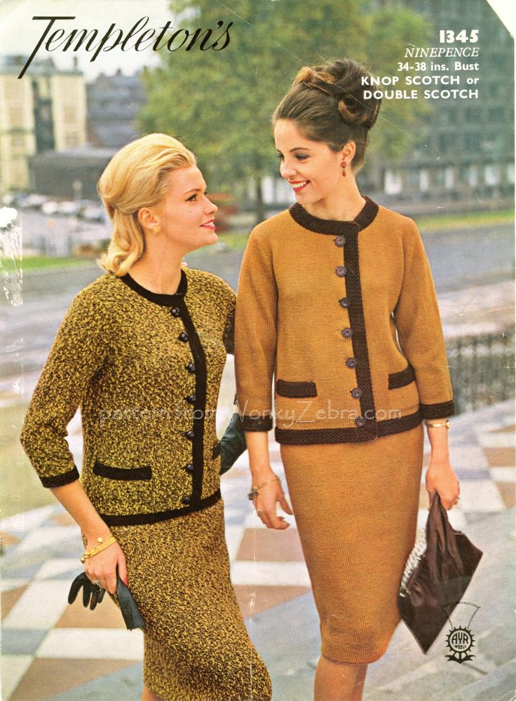 "A perfect tweedy knitted suit-retro sixties styling at its best! Pencil skirt, Cardigan jacket with 3/4 sleeves, mini pocket detail and ""braid"" borders. All in the style made famous by 'Madam Coco' and still very wearable.knitting pattern from WonkyZebra PDF WZ129"