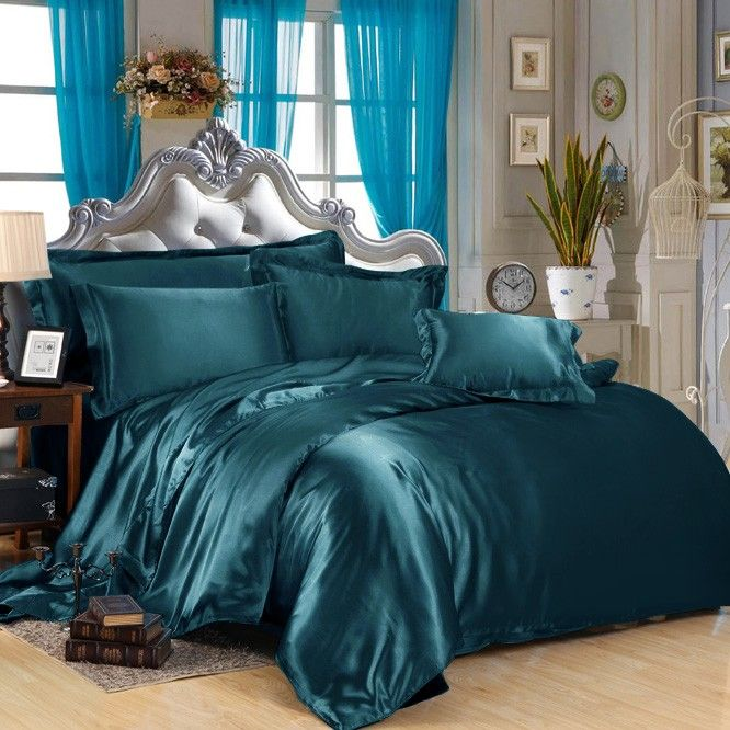 #teal #silk bedding set