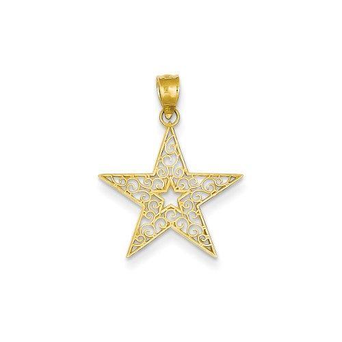 14k Yellow Gold Filigree Star Pendant, Women's