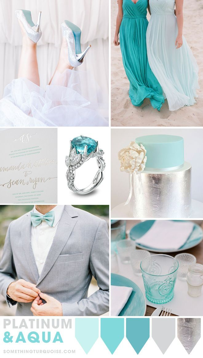 t style of wedding. Go bold and dress your maids in aqua, but for the rest of your event use it only for the little details. Like the bottom of the brides shoes (which are DIY), in the invitation, and a touch on the cake. Aqua glass tableware is a must, paired with shiny silver flatware and maybe even metallic candle