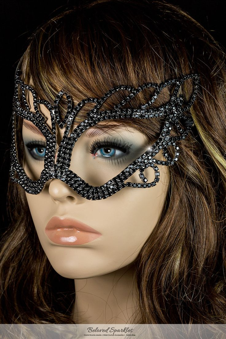 Naomi Black Art Deco Passion Crystal Masquerade Mask. Description: This Mysterious Art Deco Masquerade Mask is created with best quality sparkling Black Round Crystal and Rhodium Plated. This gothic p
