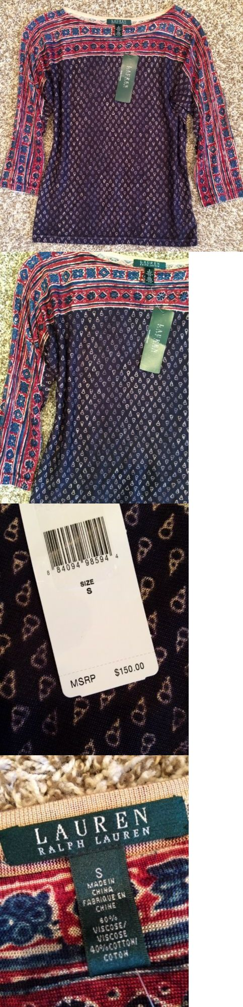 Women Tops And Blouses: Nwt!! Womens Ralph Lauren Aztec Print Shirt Top Blouse Size S $150 BUY IT NOW ONLY: $33.99
