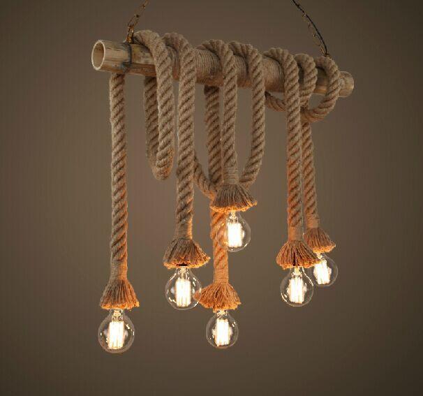 Retro Doble Cabezas de Cuerda Luces Pendientes Lámpara Desván Vendimia Restaurante Comedor Dormitorio Colgante Lámpara de Luz de La Cuerda de Cáñamo Tejido A Mano
