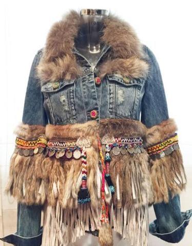 Denim Jacket with Fur Fringe