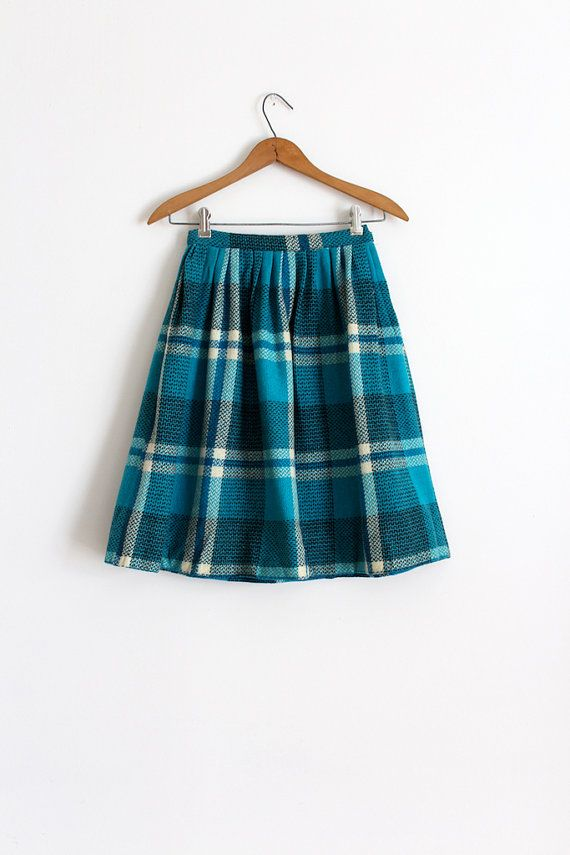 vintage 1950s skirt // 50s blue plaid wool skirt by TrunkofDresses