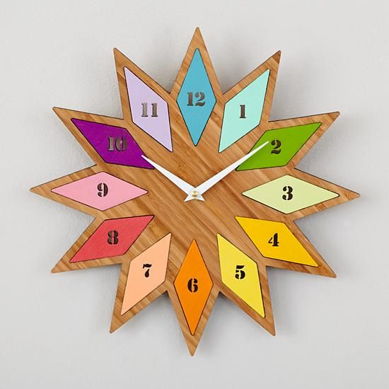 Chromatic Bamboo Wall Clock in Clocks | The Land of Nod