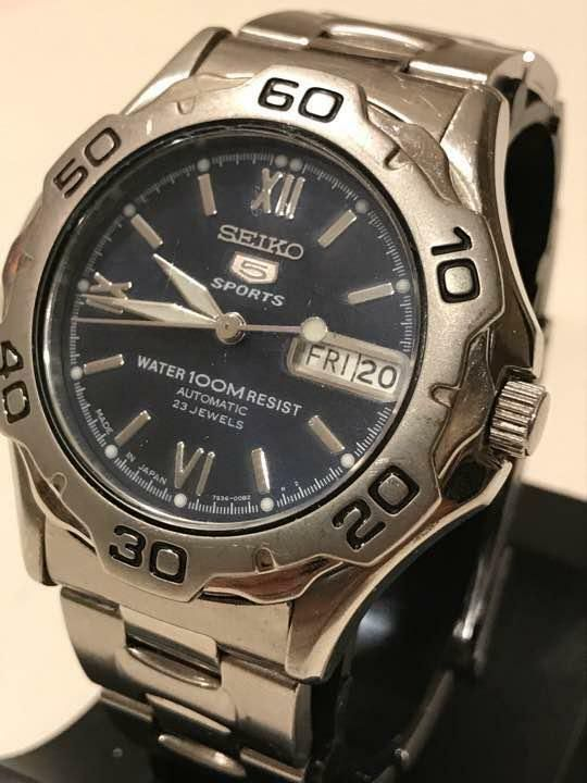 9b5b29a9a eBay #Sponsored SEIKO 5 SPORTS Cal.7S36B diver's watch 100M water resistant  black dial silver