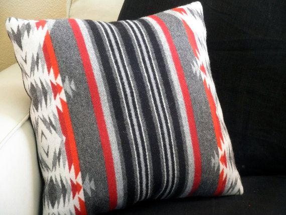 Navajo pillow Pendleton wool blanket wieght fabric by UrbanCamp