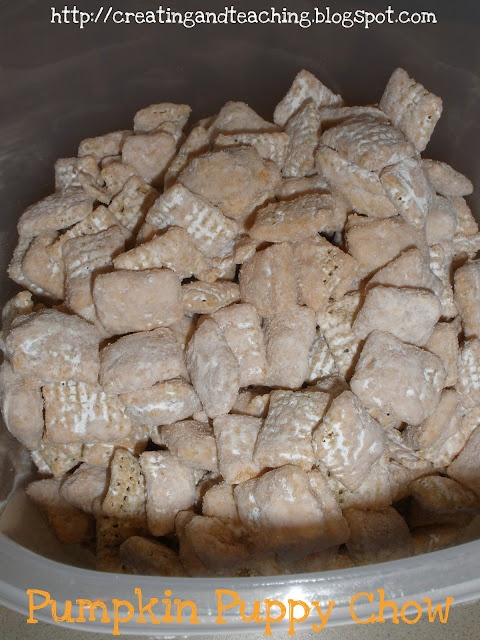 *Pumpkin* Puppy Chow for the fall. Could use peppermint kisses or white chocolate for Christmas.