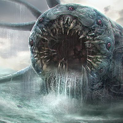The sea monster Charybdis was believed to live under a small rock on one side of a narrow channel. Opposite her was Scylla, another sea monster, that lived inside a much larger rock.