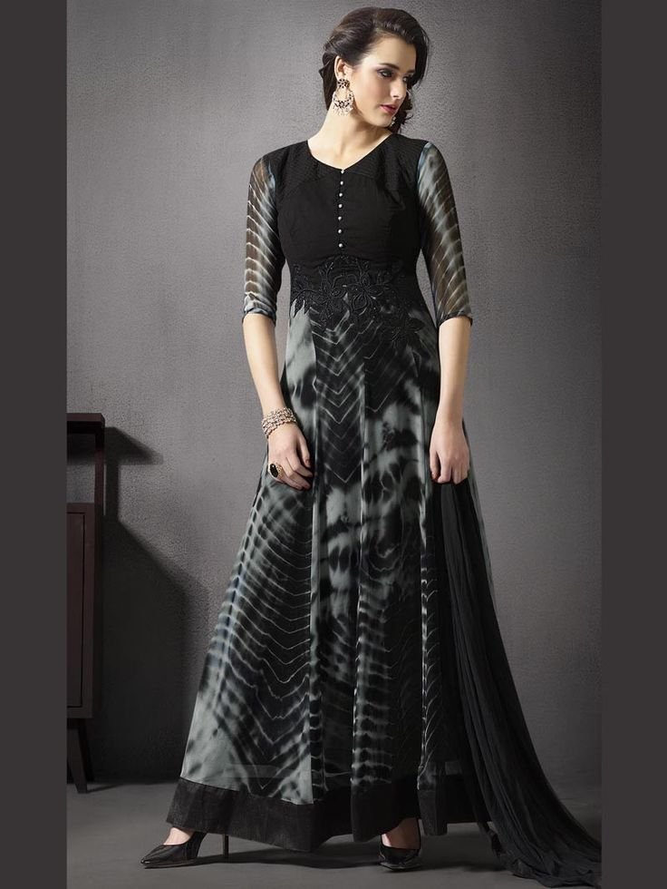 Black+and+Grey+Color+Embroidered+Straight+Suit+with+Churidar