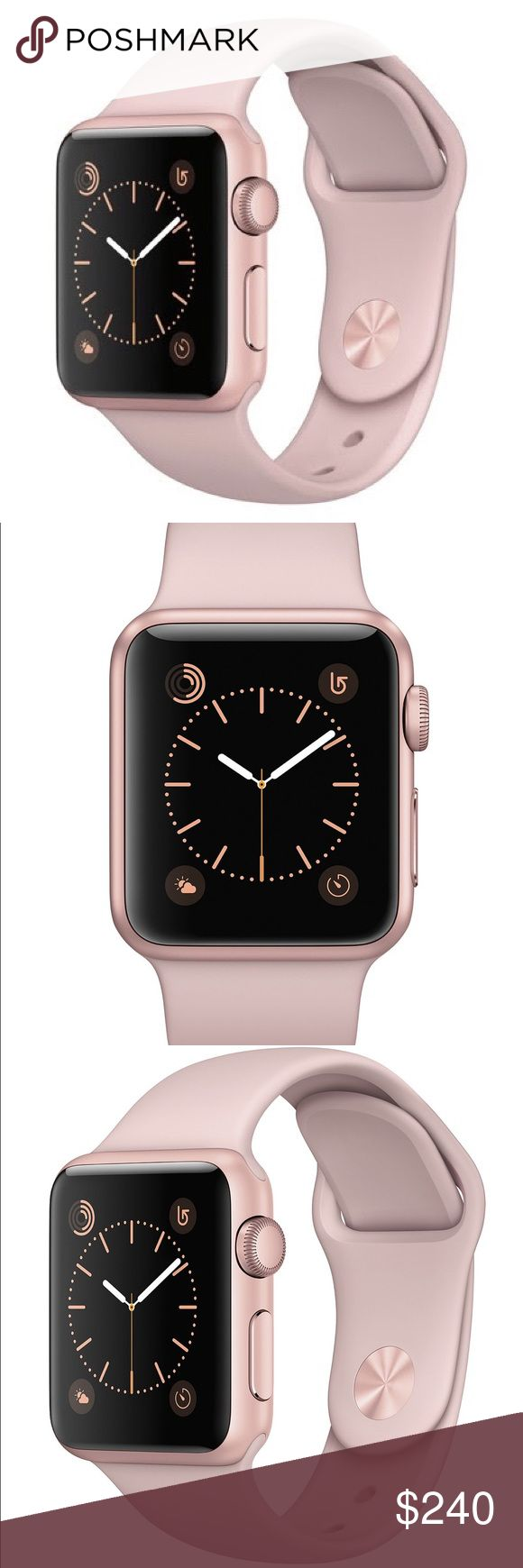 Apple Watch Series 1 Rose Gold Case with Pink Band Durable, lightweight aluminum cases in silver, space gray, gold, and rose gold. Sport Band in a variety of colors. All the features of the original Apple Watch, plus a new dual-core processor for faster performance. All models run watchOS 3. Apple Accessories Watches