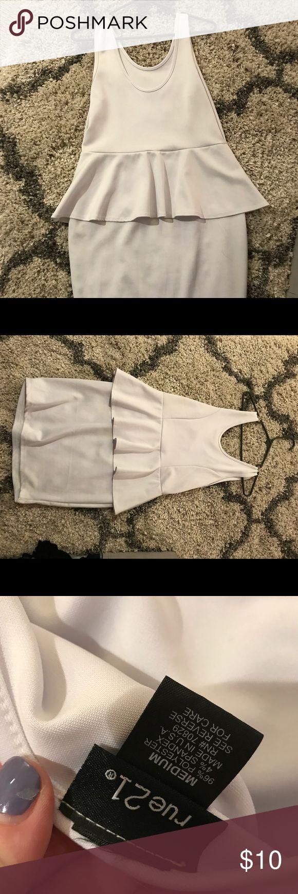 Never worn white peplum dress. Super cute- perfect for a bachelorette! Rue 21 Dresses Mini