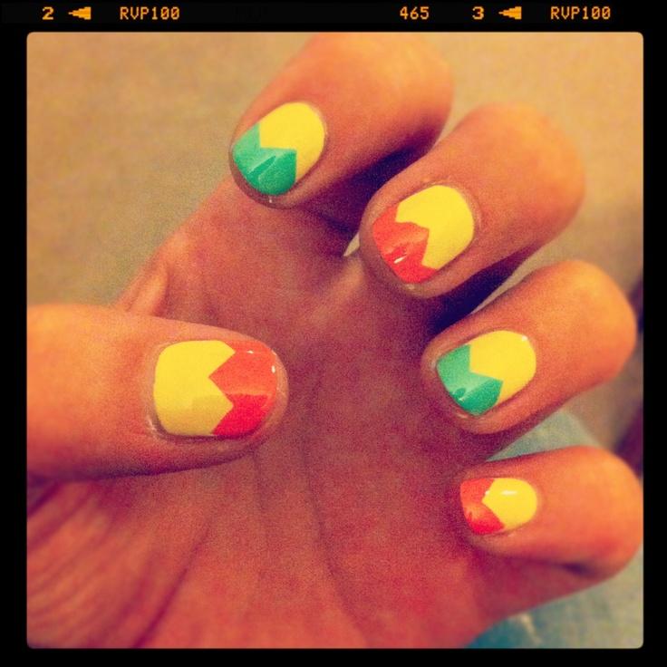 Bright Zig Zag nails: Bright Zig, Nails Art, Zig Zag Nails