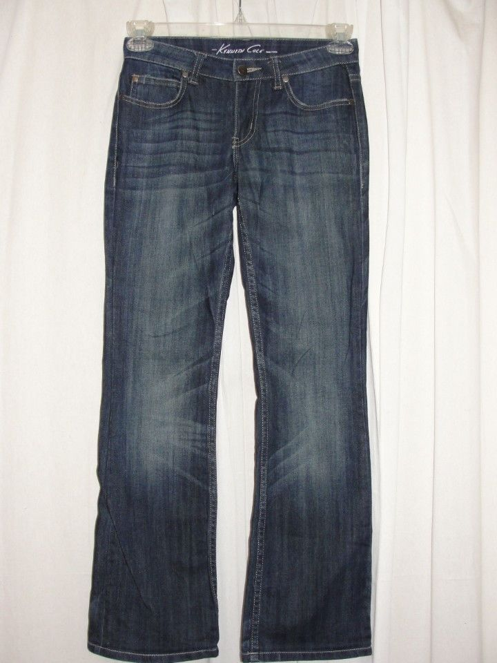 Kenneth Cole Jeans Womens Blue Stitch Accent Stretch Boot Cut Low Rise Size 2S #KennethCole #BootCut