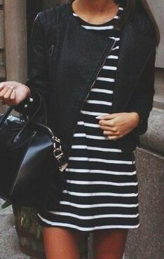 Classic stripes and leather