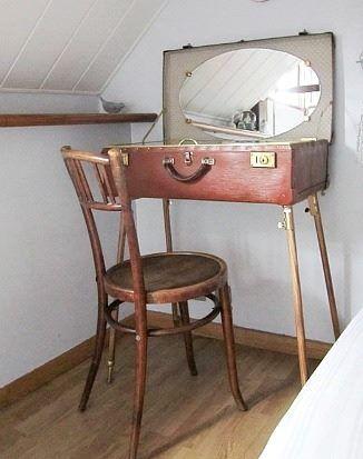 old suitcase vanity